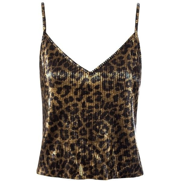 c0a3275b978df Sans Souci Brown bodre leopard cami top (500 UAH) ❤ liked on Polyvore  featuring