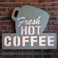 Retro Signage - Fresh Coffee, Illuminated Light, 40.90 x 8.80 x 40.60cm | ACHICA