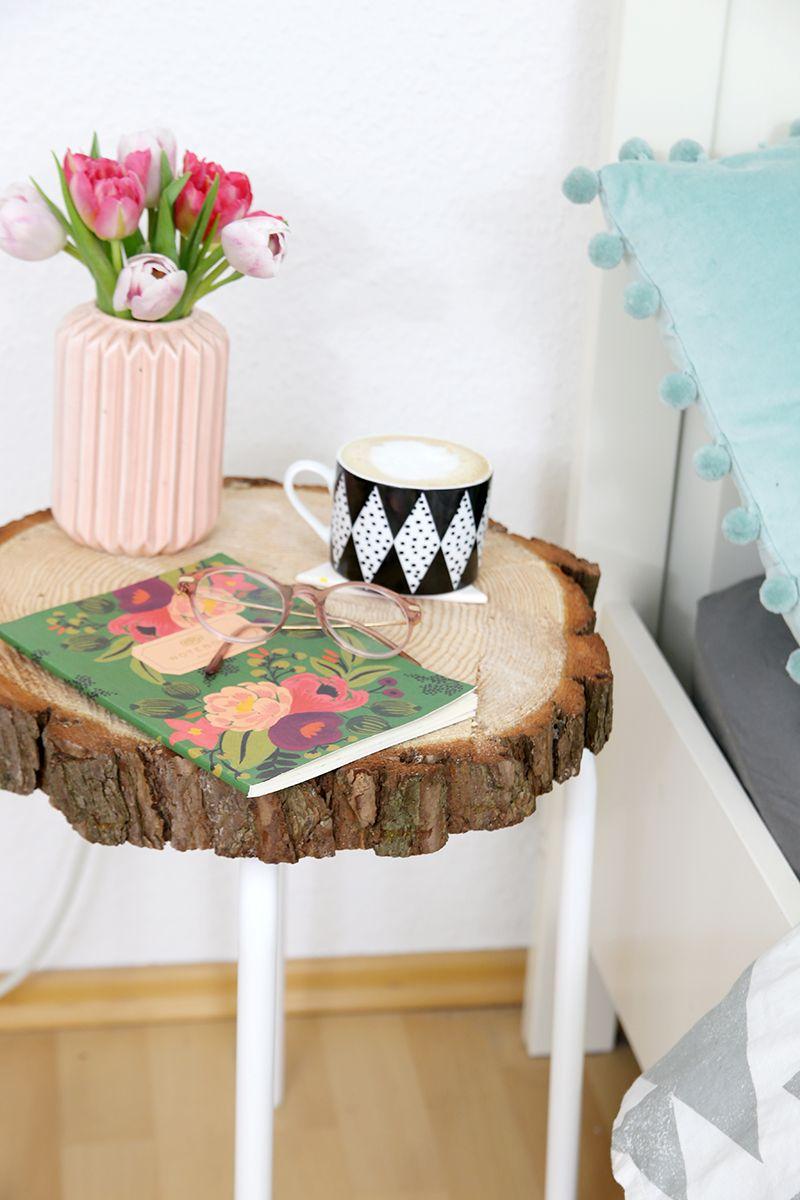 Diy Beistelltisch Aus Baumscheibe Und Ikea Hocker Wohnen