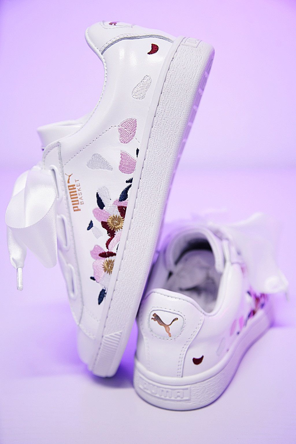 separation shoes 1cb5f 81599 PUMA ID BASKET HEART EXPLOSIVE FLORAL EMBROIDERED SNEAKER ...