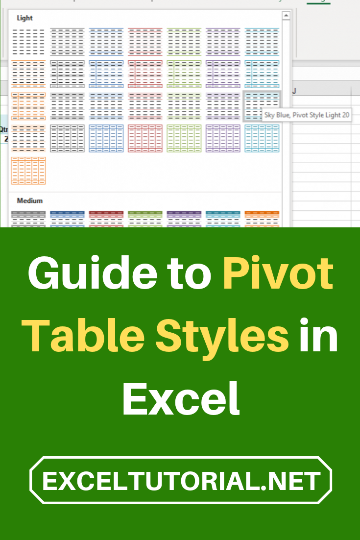 Guide To Pivot Table Styles In Excel Pivot Table Excel Tutorials Pivot Table Excel