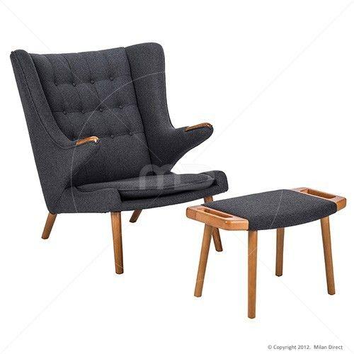 Papa Bear Chair Ottoman Hans Wegner Reproduction Grey Cashmere Milan Direct