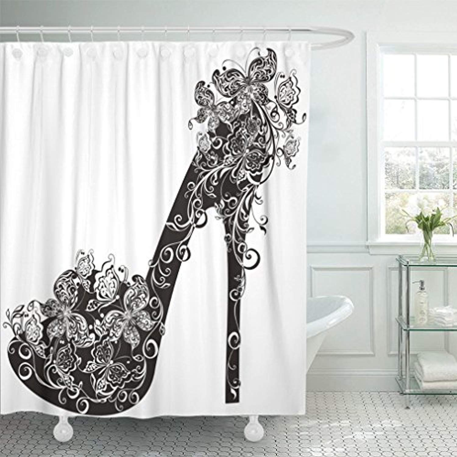 Emvency 72x72 Shower Curtain Waterproof Black Stiletto Shoes On High Heel Decorated With Flowers And Butterflies White Model Home Decor Polyester Fabric