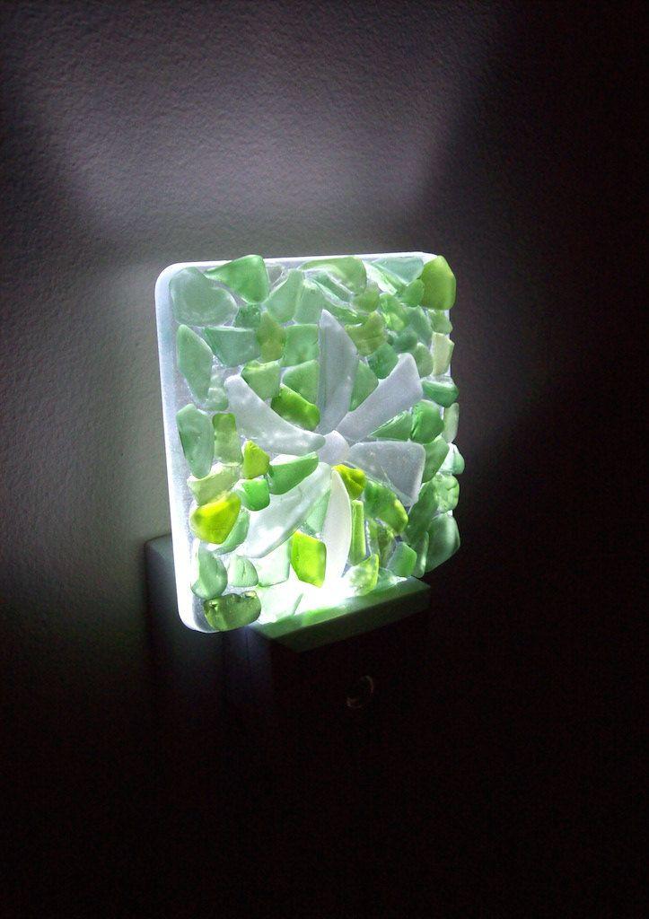 Whtie Flower Greens Led Night Light Sea Gl Genuine Lights By Redislandseagl On Etsy