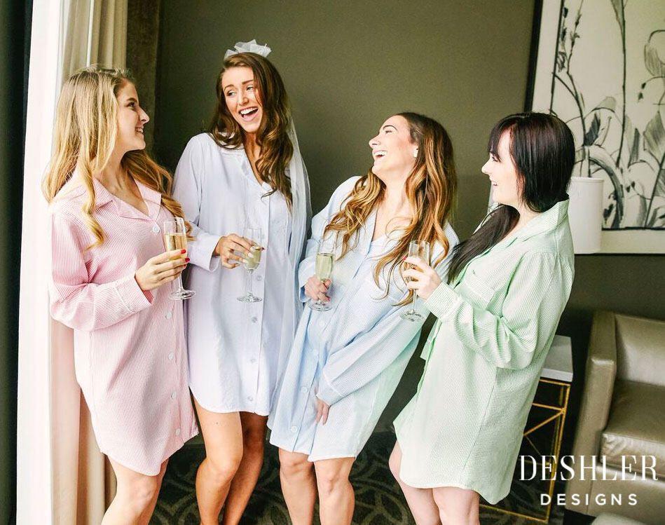 embroidered bride bridesmaids sleepover wedding Monogrammed Blue Seersucker Pajama Short Set personalized
