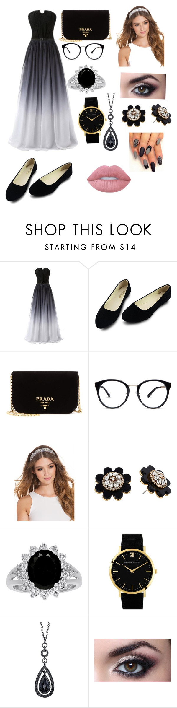 """""""Untitled #50"""" by ganaal ❤ liked on Polyvore featuring Prada, JFR, Kate Spade, Larsson & Jennings, 1928 and Lime Crime"""