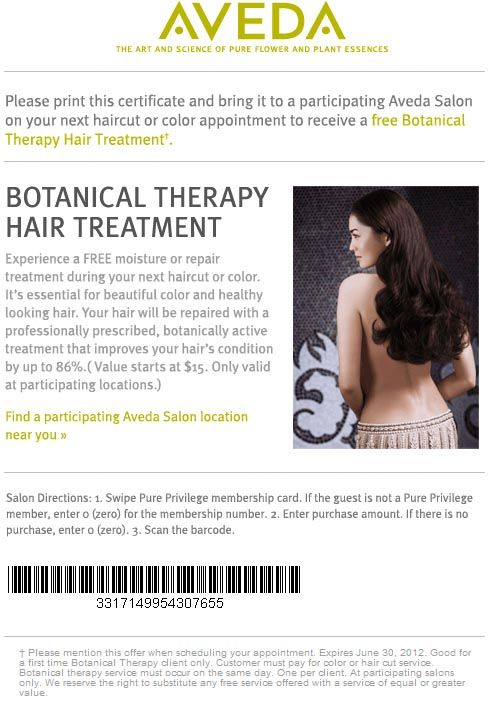 aveda haircut coupons aveda free hair treatment printable receive a 6211