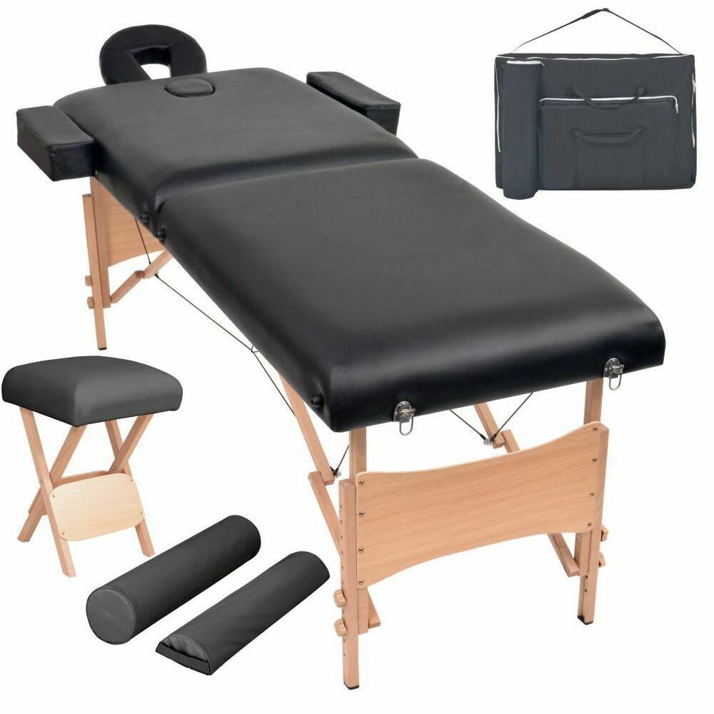 Vidaxl Table De Massage Pliable Et Tabouret Noir Lit De Massage Chaise Massage Table De Massage Massage
