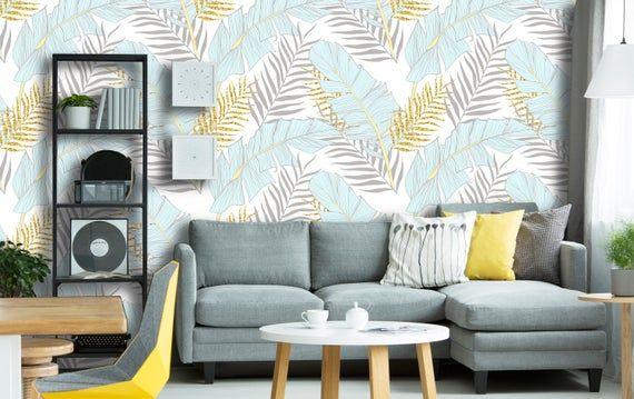 Removable Peel 'n Stick Wallpaper, Self-Adhesive Wall Mural, Tropical Pattern, Nursery Wall, Custom Colors • Blue Gold Jungle Leaves #tropicalpattern