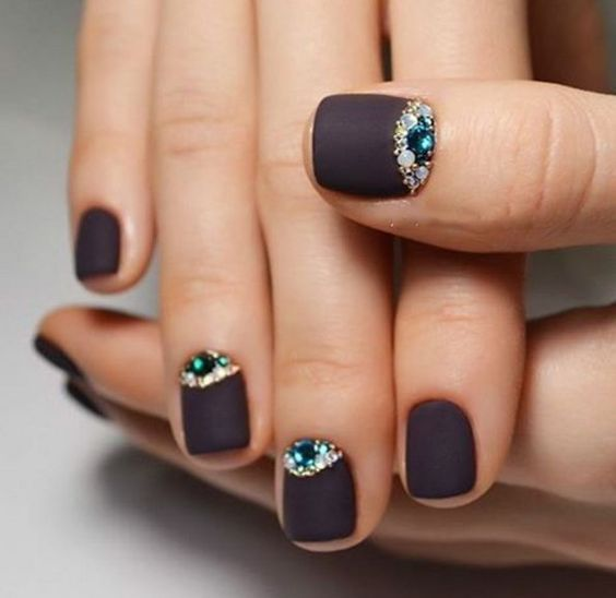 20 matte brown nails with rhinestone accents - Styleoholic | paint ...