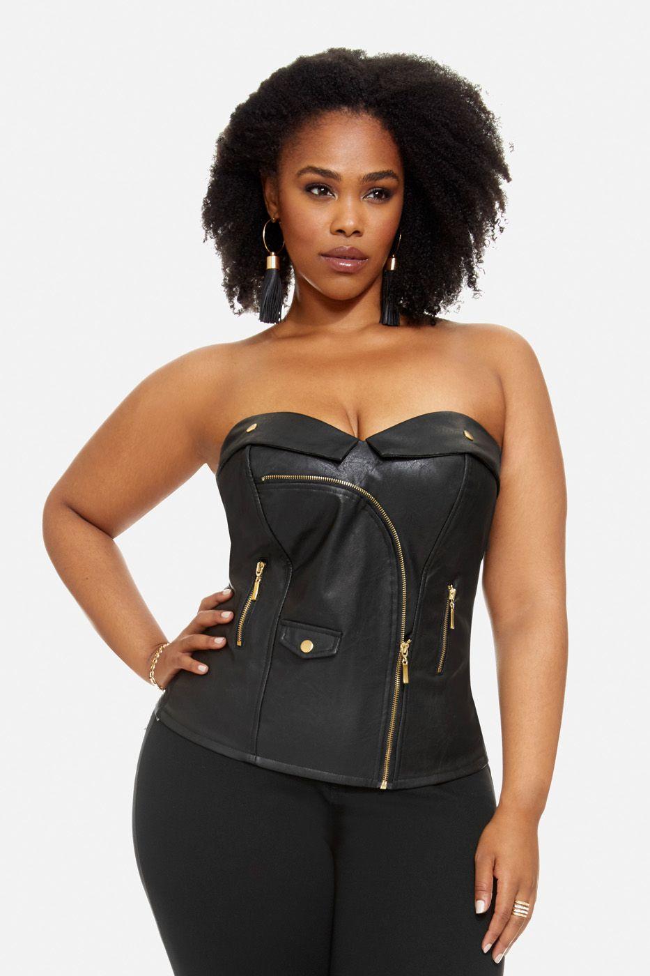 Plus Size Imani Moto Faux Leather Corset   Fashion   Pinterest