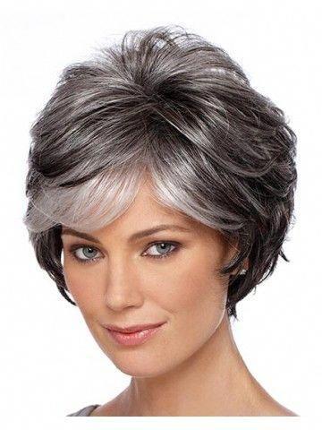 capless wavy short gray synthetic hair wig  grey hair wig