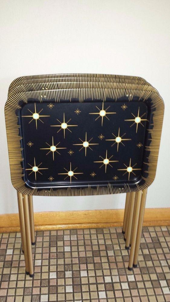 Vintage Caldak Cal Dak Mid Century Modern E Age Starburst Tole Tv Trays Set Retrohomedecor Black Pinterest Tray And