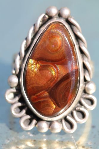 Vintage Sterling Silver Fire Agate Signed Navajo Ring Richard Kee | eBay