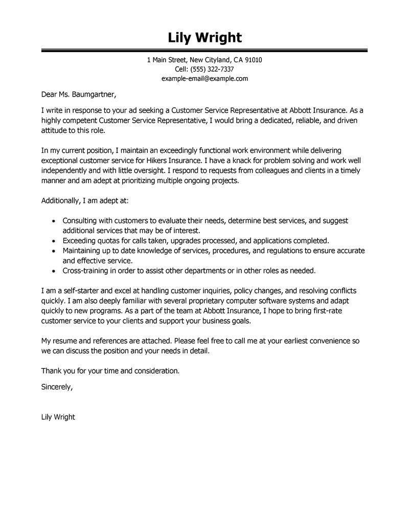 23 Customer Service Representative Cover Letter Customer