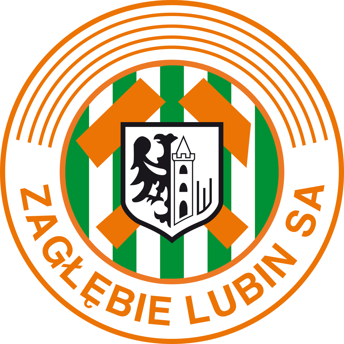 Zaglebie Lubin of Poland crest. Sports team logos