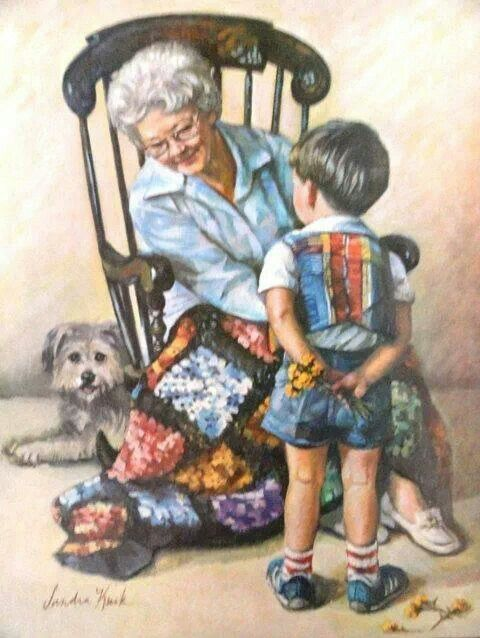 Painting Grandma And Grandson Art Vintage Illustration