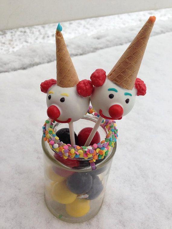 12 clown cake pops circus birthday party by sparklingsweetsshop preschool ideas zirkus - Cake pops 50 geburtstag ...