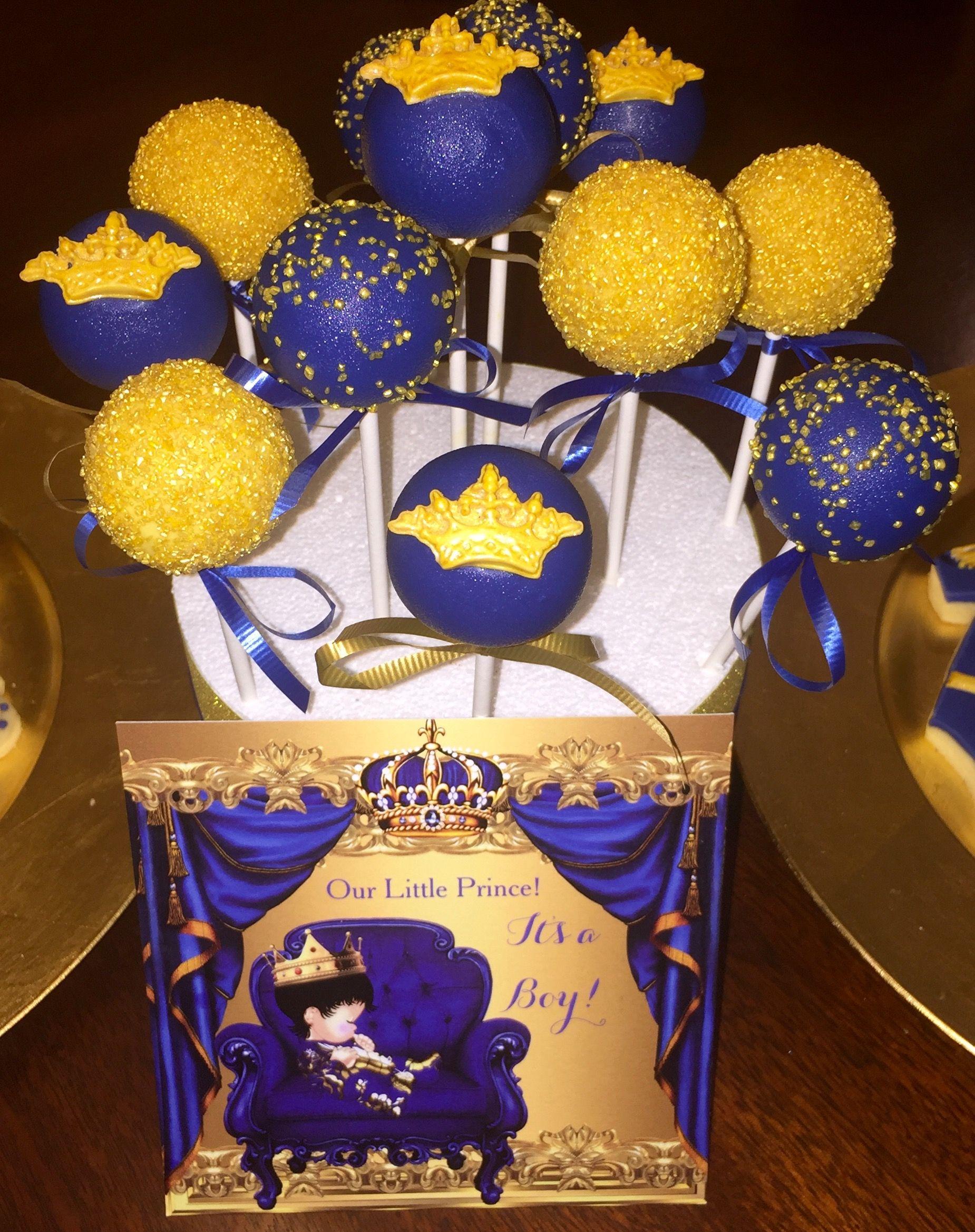 royal blue u0026 gold cake pops prince themed baby shower