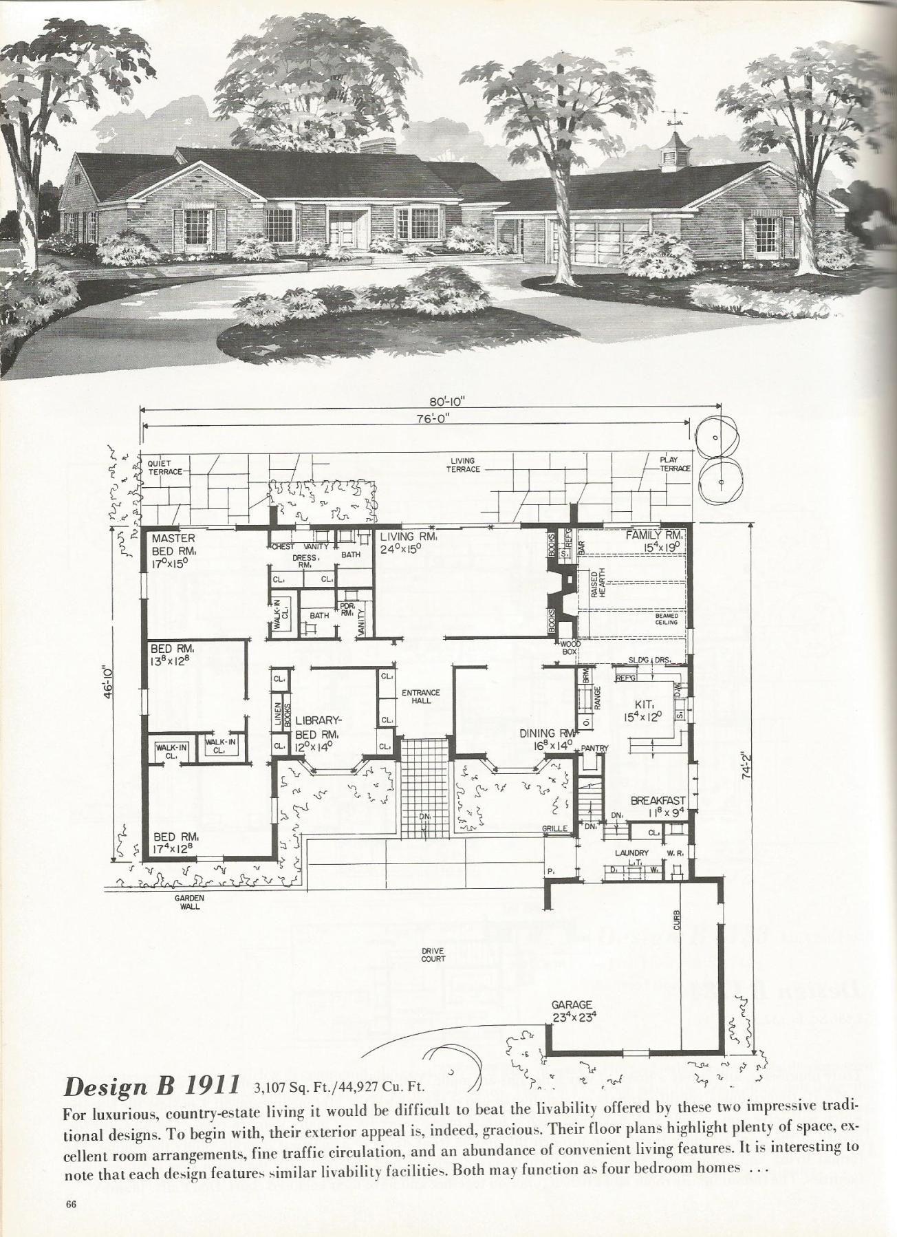 Vintage house plans, mid century homes, luxurious vintage