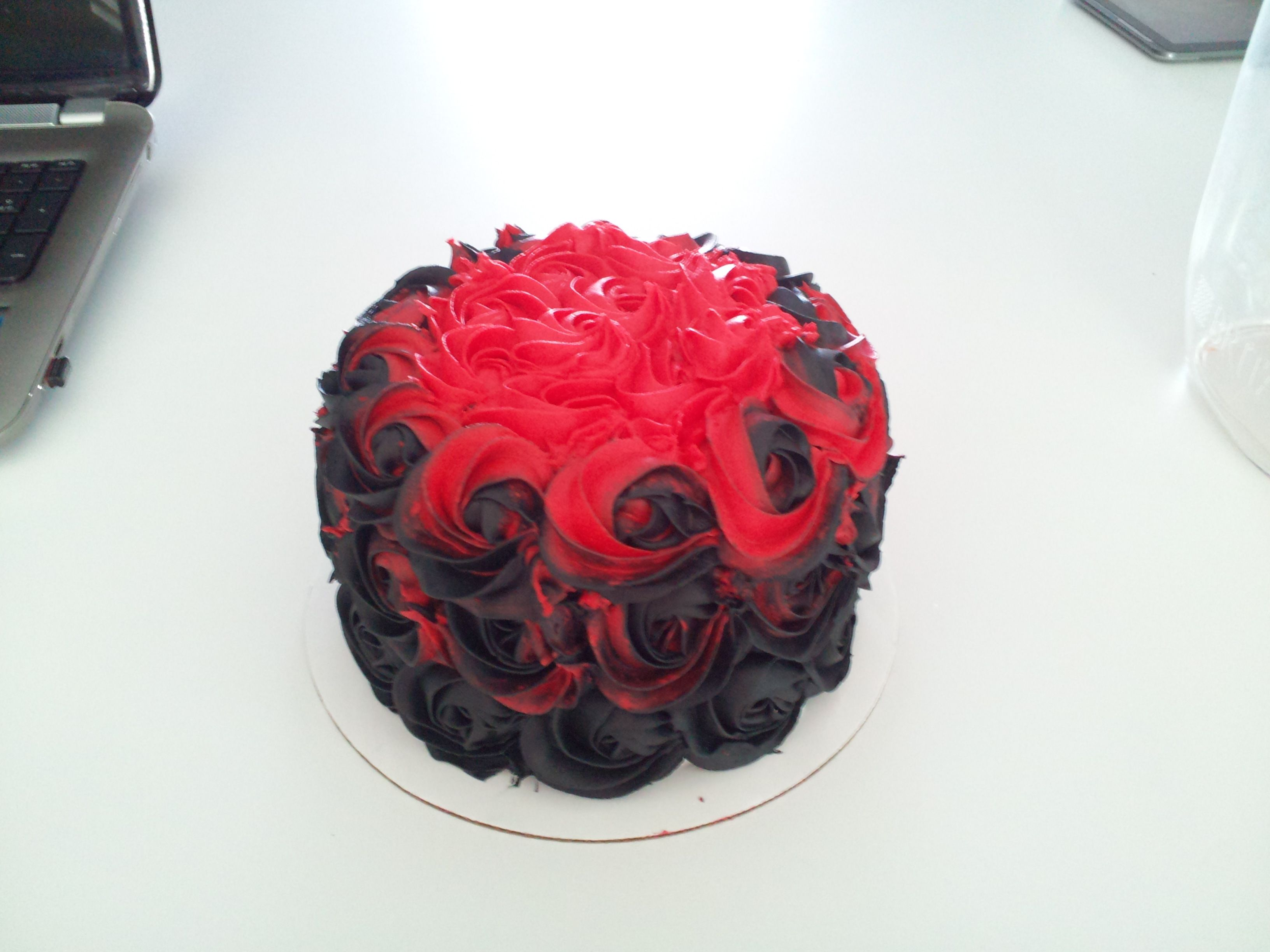 Black And Red Ombre Rosette Cake This Cake Is Peanut Butter