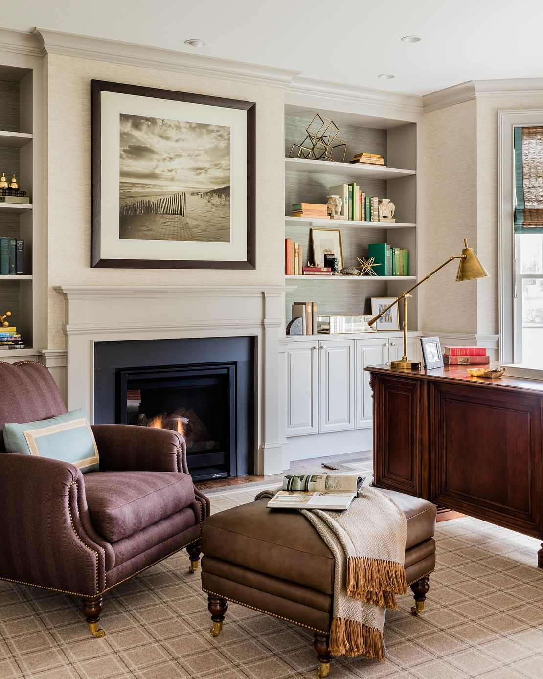 Classic american home interior study home office american architectural details