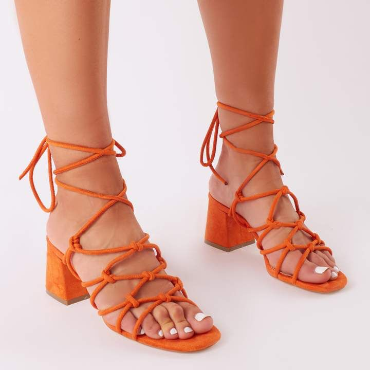 e74312b586a0 Freya Knotted Strappy Block Heeled Sandals Faux Suede Orange strappy sandals  with block heels by Public