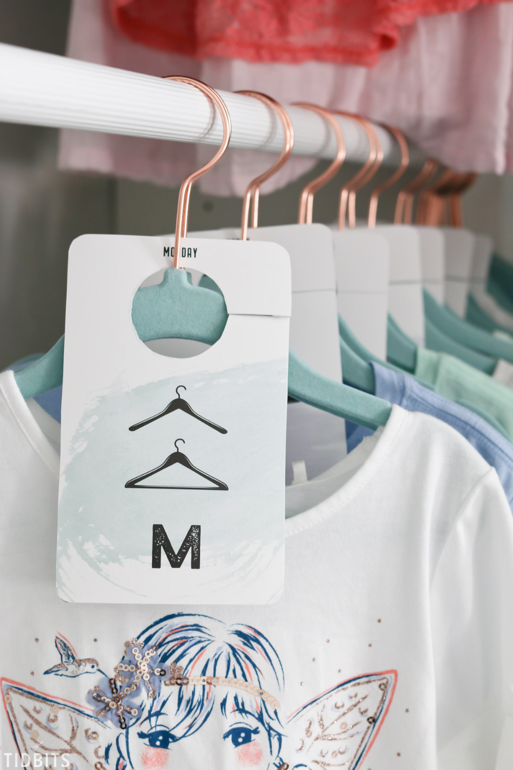 Get your free printable days of the week closet dividers for better closet organization. Kids, adults, boys, girls - you name it! #camitidbits #closetdividers #closetorganization #kidscloset #closet #organization #hangers