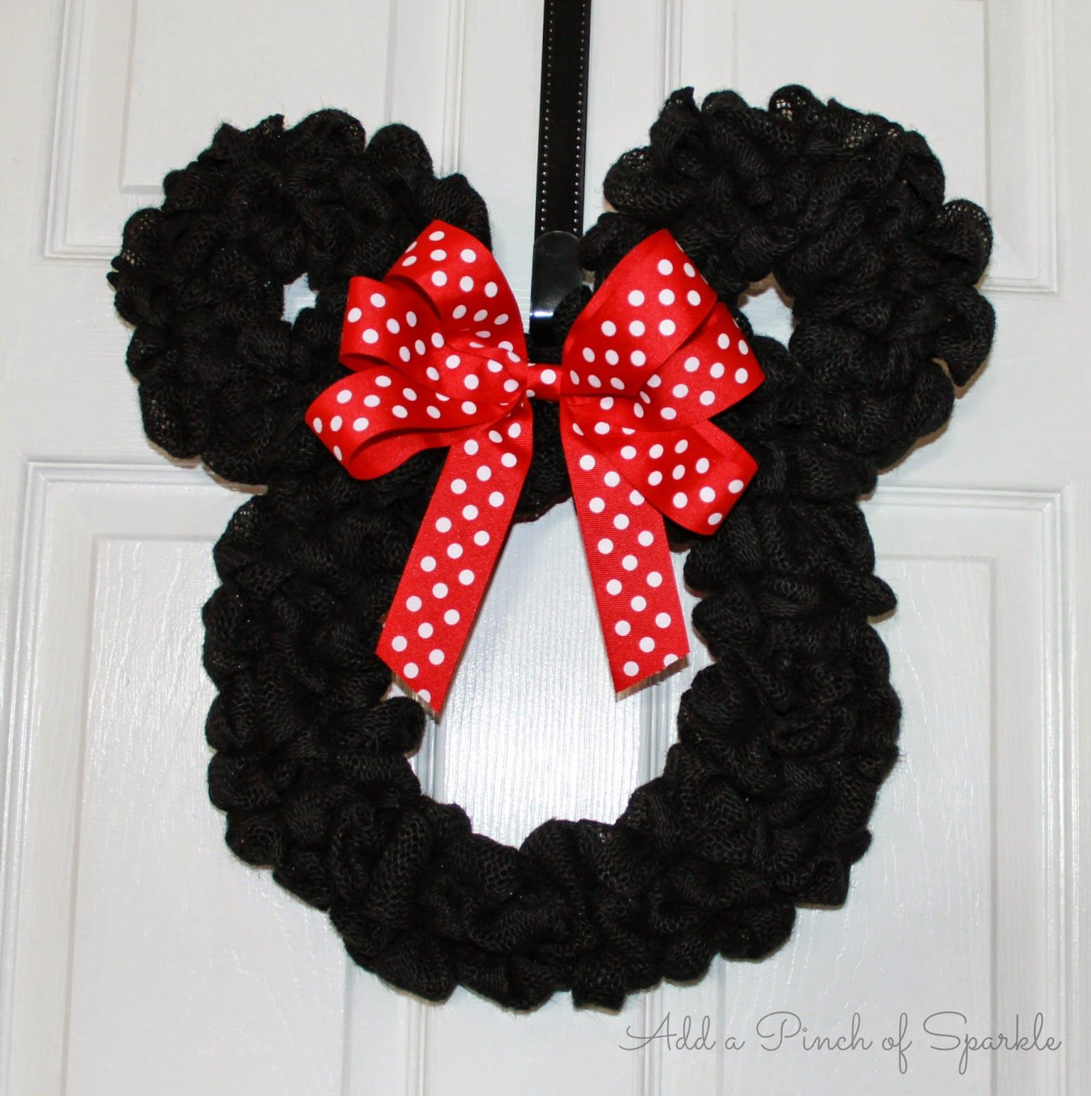 Add a pinch of sparkle minnie mouse wreath tutorial - Minnie mouse noel ...