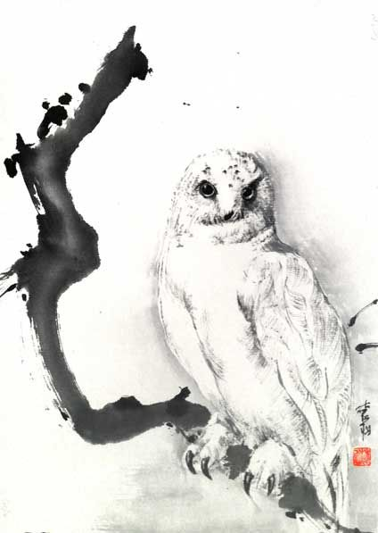 "White Owl, 2012,16.5"" x 12"". featured artist: #JanZaremba #brushpainting#sumie http://www.asianbrushpainter.com/blog/gallery/jan-zaremba/"