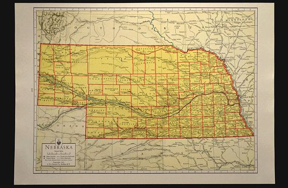 Nebraska Map Of Nebraska Wall Art Colorful Yellow Vintage Gift Etsy Vintage Maps Architectural Prints Map