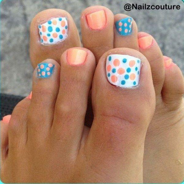 50 Pretty Toe Nail Art Ideas Blue Polka Dots Pedicures And Toe