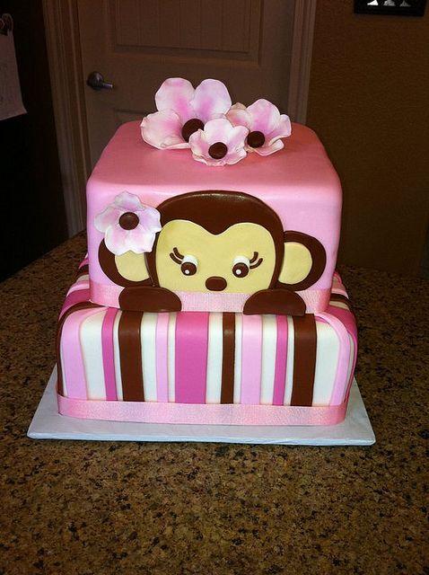 GIRL MONKEY CAKE By Monicamartinez95, Via Flickr. Baby Shower ...