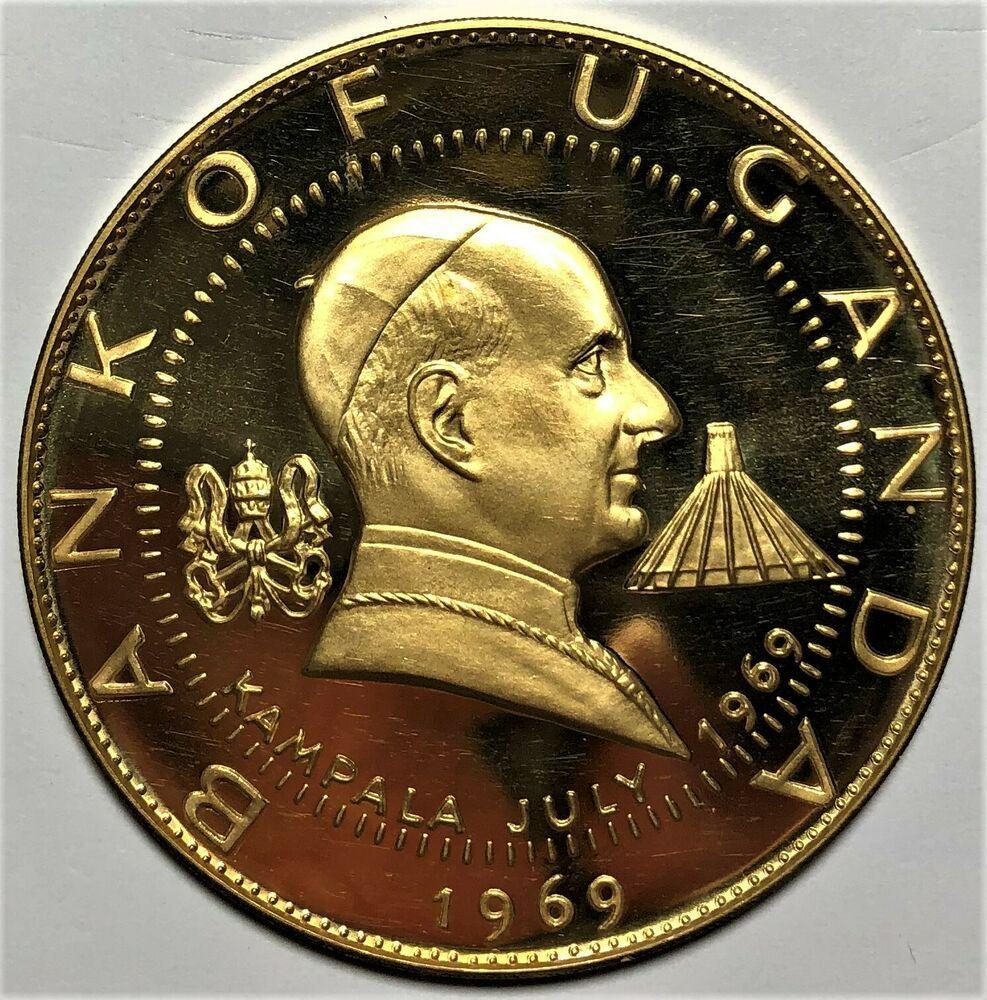 1969 Uganda 1000 Shilling Gold Coin 4 000 Agw Km 17 Large