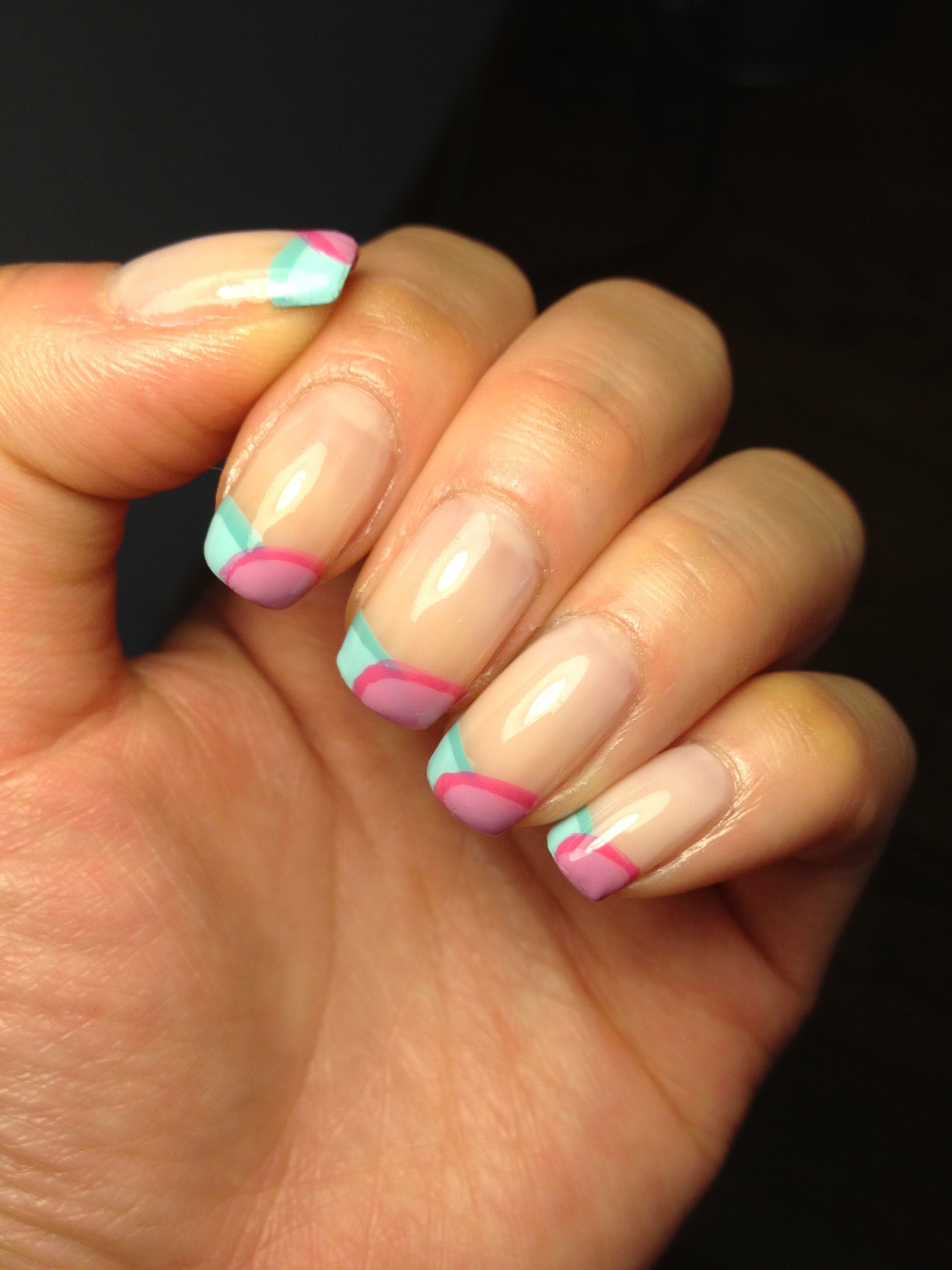 Colored french nail design - Two Color French Manicure Photo