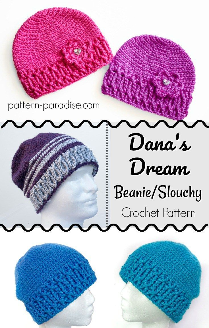 Crochet Pattern: Dana\'s Dream Beanie and Slouch | Tejido, Gorros y ...