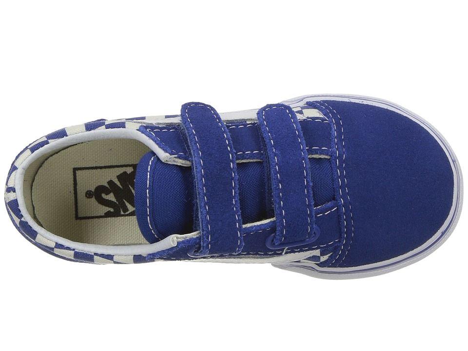 7c28f22eec1d Vans Kids Old Skool V (Toddler) Kid s Shoes (Primary Check) True Blue White