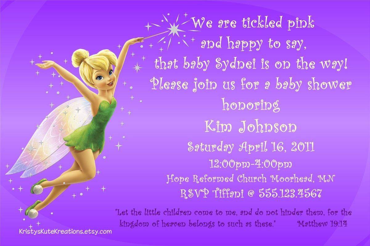 Disney\'s Tinkerbell & Fairy Baby Shower Invitation OR Thank you card ...
