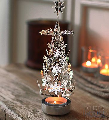 CHRISTMAS TREE Silver Spinning Carousel Rotary Tea Light