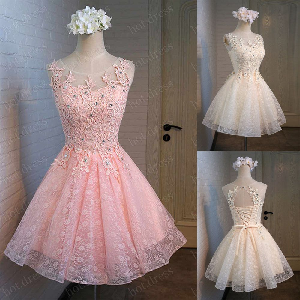 New Short Lace Party Prom Homecoming Cocktail Gown Bridesmaid ...