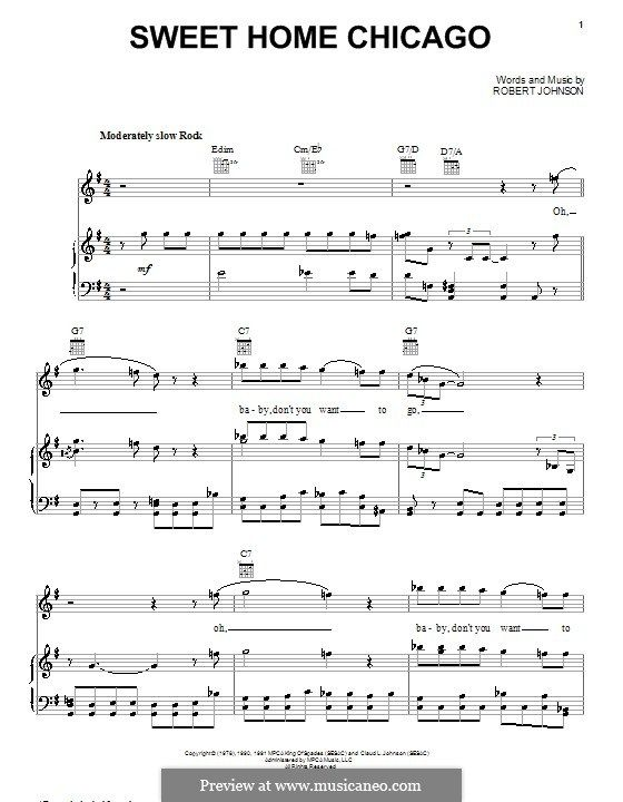 Download and print sweet home chicago, (easy) sheet music for piano solo by robert johnson. Sweet Home Chicago Eric Clapton By R L Johnson On Musicaneo Eric Clapton Chicago Eric
