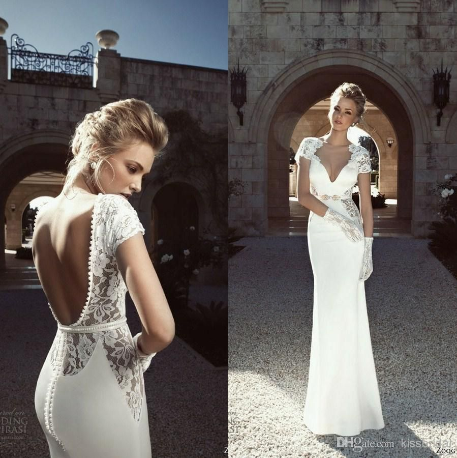 2015 Stylish Backless Wedding Dresses Sheer V Neck Short Sleeve Sheath Floor Length White