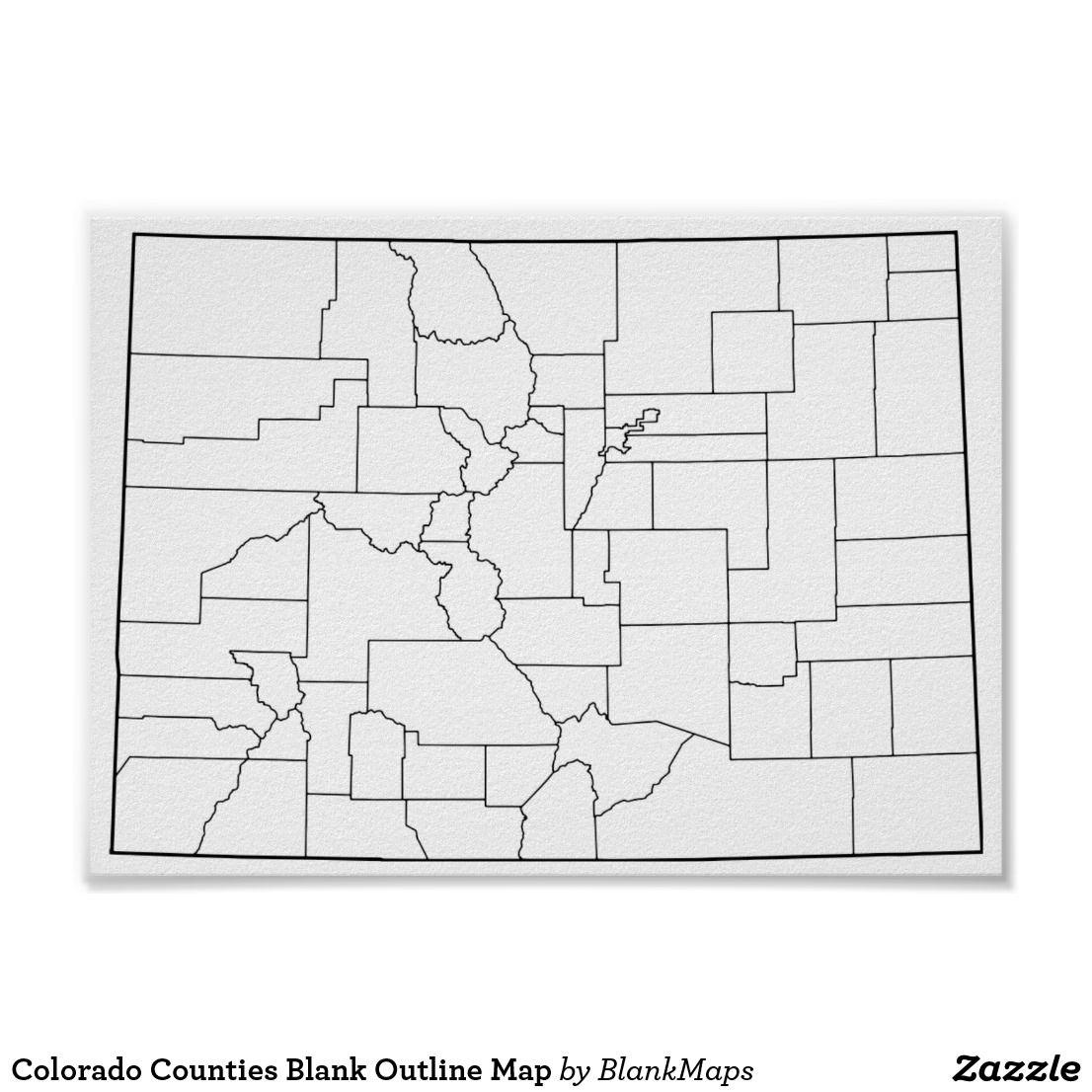 Colorado Counties Blank Outline Map Poster