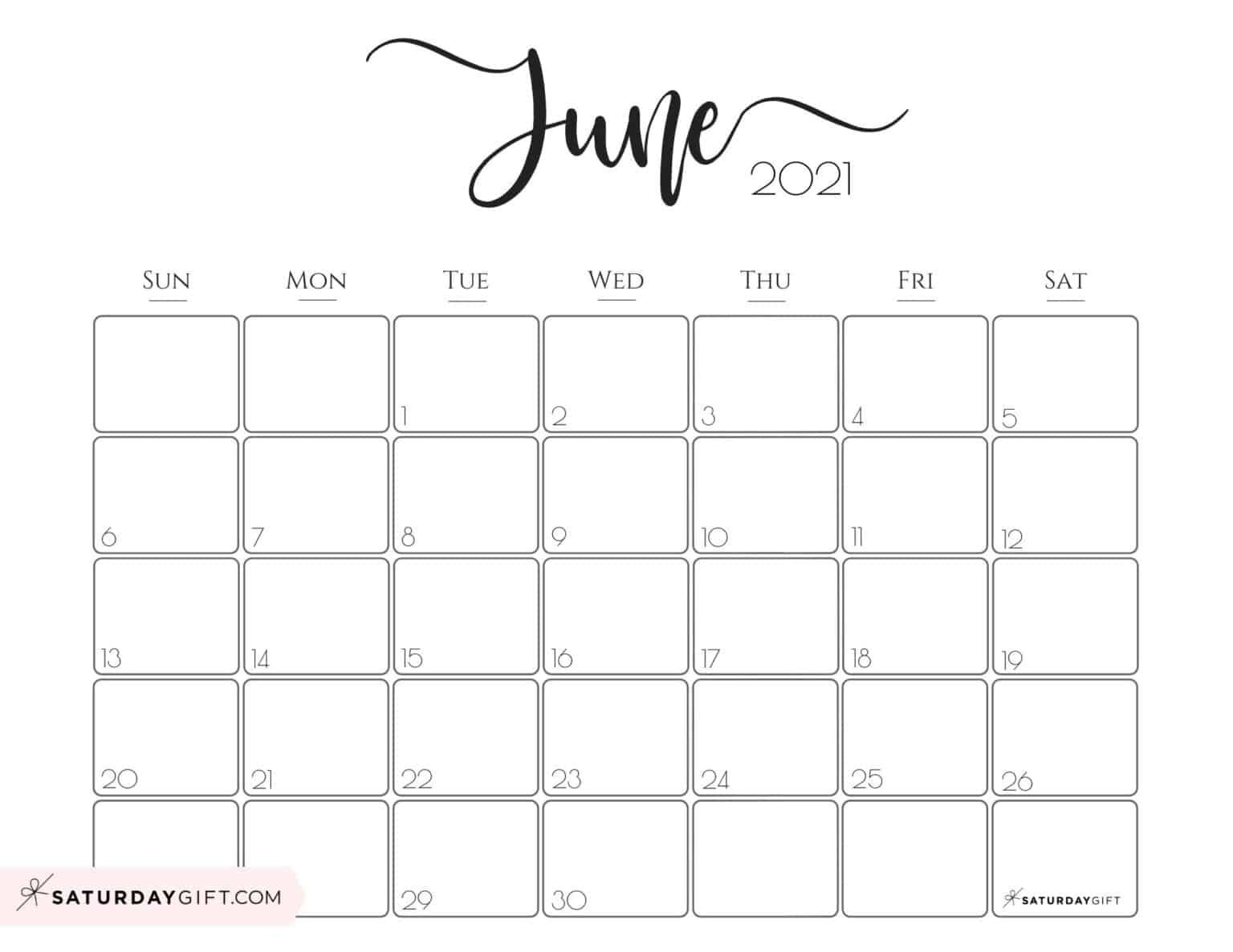 Free June Calendar 2021 Elegant 2021 Calendar by SaturdayGift   Pretty Printable Monthly
