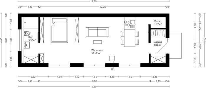 neues wohnen im cubig designhaus minihaus casitas pinterest minihaus neuer und wohnen. Black Bedroom Furniture Sets. Home Design Ideas