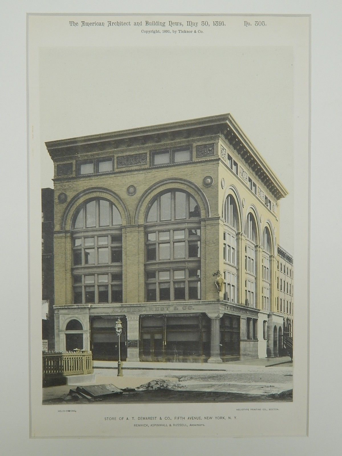 Store of A. T. Demarest & Co., Fifth Avenue, New York, NY, 1891, Gelatine Print. Renwick, Aspinwall & Russell.