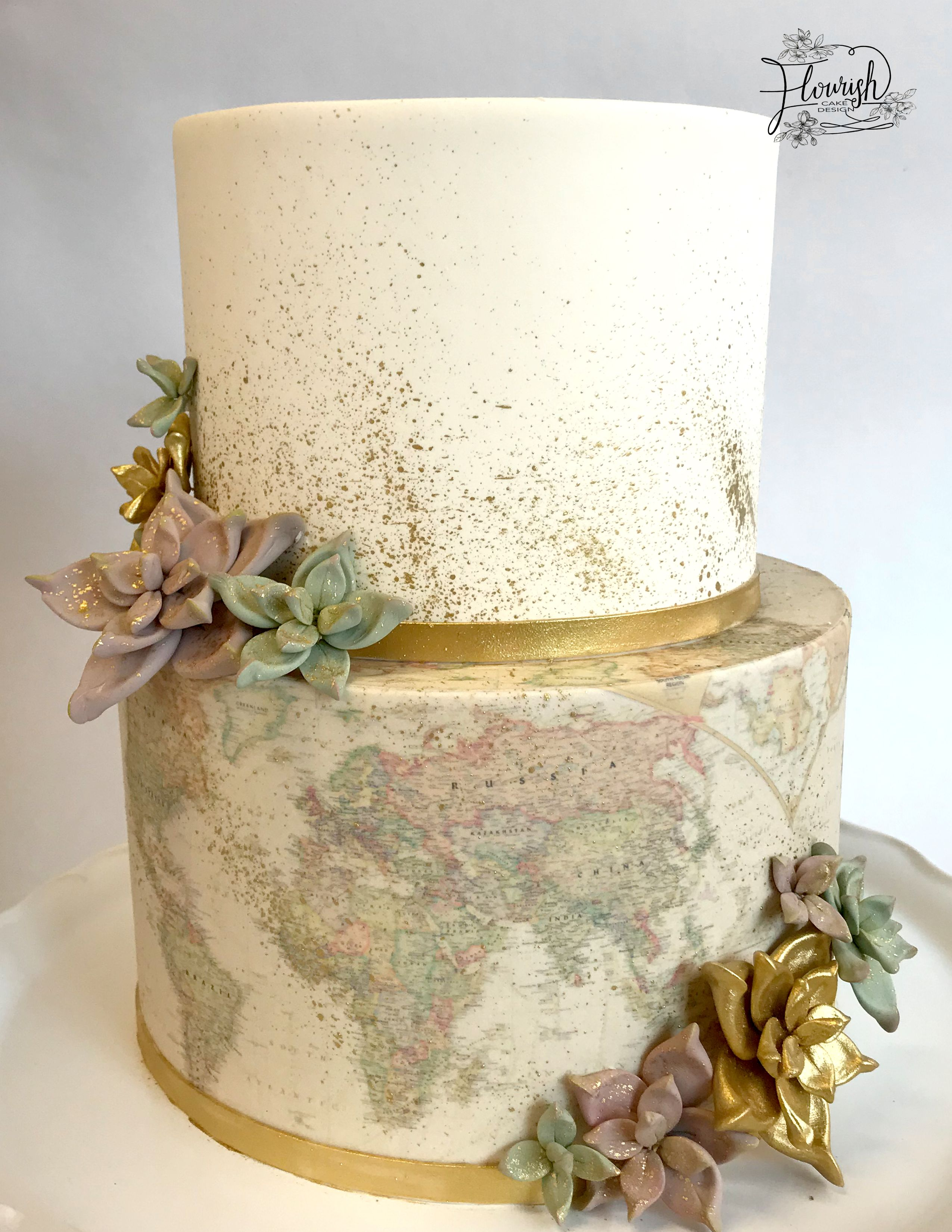 Edible image vintage map with handmade sugar succulents