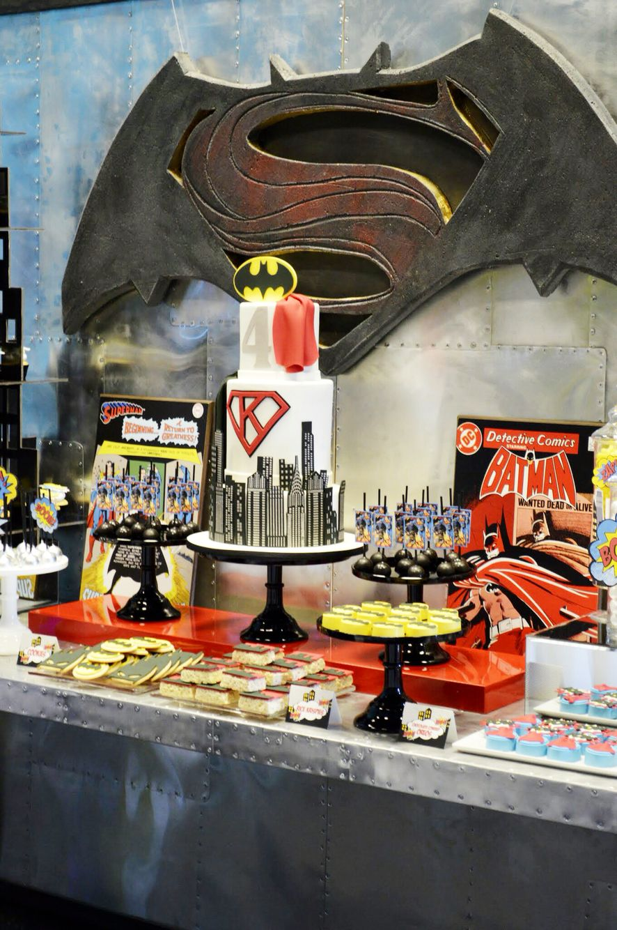 Backdrop superhero party printables batman background backdrop - Batman Vs Superman Party Custom Backdrop Sign On Our Metal Dessert Wall With