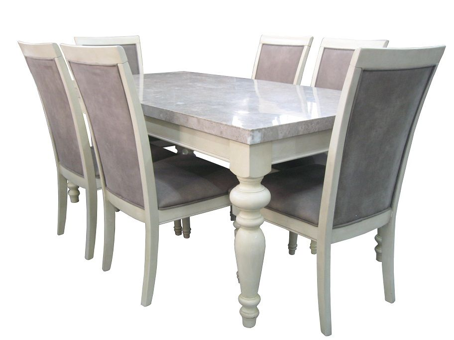 for sale marble top dining table along with 6 chair for more