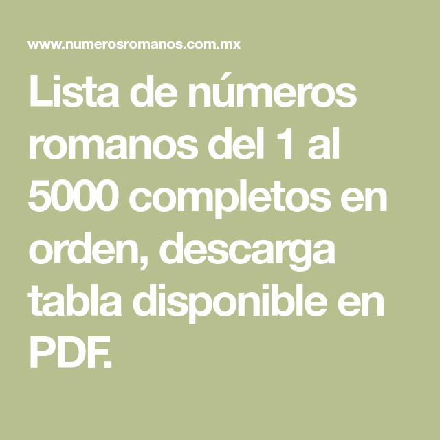 Lista De Números Romanos Del 1 Al 5000 Completos En Orden Descarga